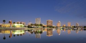 The skyline of St. Petersburg, FL at night.