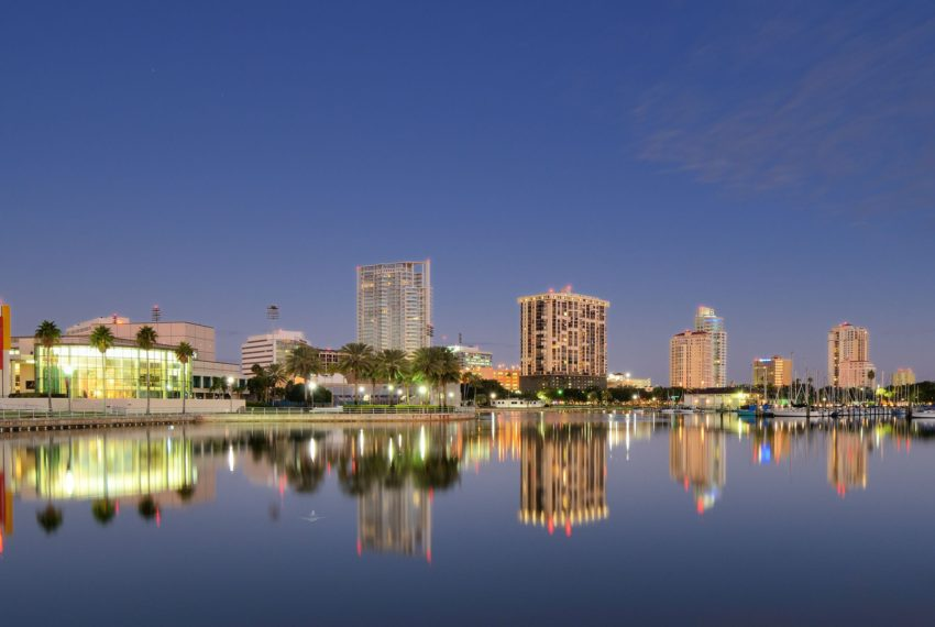 The skyline of St. Petersburg, FL at night.