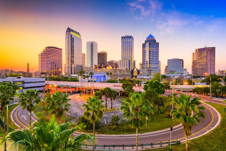 The skyline of Tampa, Florida at sunset.